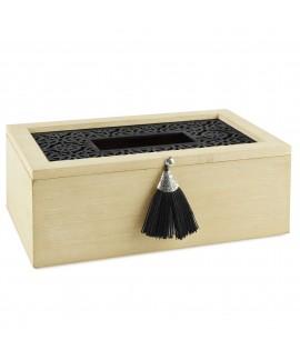 Scatola legno naturale con inserto in plexi nero di Dekoratief- portagioie
