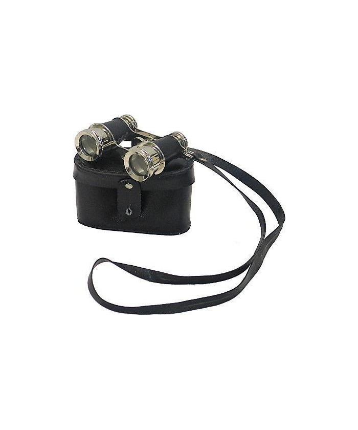 Binocolo decorativo Inart in acciaio e cuoio nero- oggetto d'arredo vintage