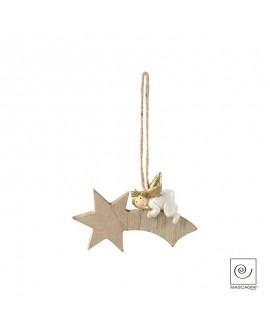 Addobbo albero di Mascagni stella di legno naturale  con angelo in resina